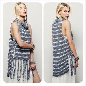 Free People Folksong Fringe Sleeveless Sweater